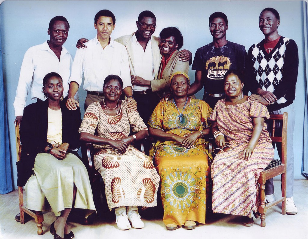 Nairobi, Kenya, Africa - Barack Obama Jr on his first visit to Kenya in 1987. In this Obama Family photo are: (bottom row, from left) half-sister Auma, her mother Kezia Obama, Obama's step-grandmother Sarah Hussein Onyango Obama and unknown; (top row, from left) unknown, Barack Obama, half-brother Abongo (Roy) Obama, and three unknowns.  (Credit Image: © Solo/ZUMAPRESS.com)