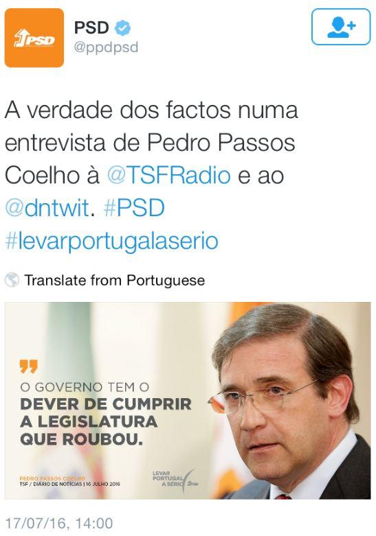 Passos-PSD Governo roubou e derrubou